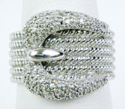 Wide Sterling Buckle Ring with Pave Diamonds