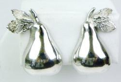 Vintage Figural Pears Sterling Earrings