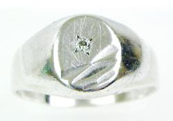 Men's Vintage Italian Sterling Ring with Diamond