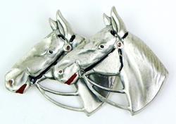 Vintage Large Sterling Double Horse Brooch