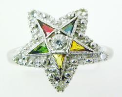 Vintage 10K White Gold Eastern Star Ring