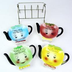Set of Anthropomorphic Tea Bag Holders & Caddy