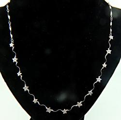 Whimsical Diamond Star Station Necklace in 18K