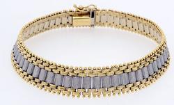 Fancy Link Two Tone Gold Bracelet