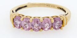 5 Stone Pink Sapphire Ring, 1CTW