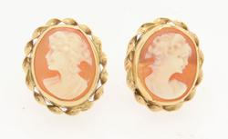 Vintage Cameo Earrings, 8.5 x 7.5 mm