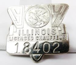 Vintage 1941 Illinois Chauffeur Badge
