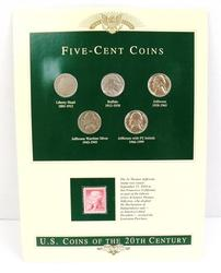 5 Five-Cent Coins & 2 Cent Stamp