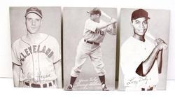3 Vintage Black & White Baseball Exhibit Cards
