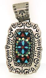 Multi Color Gemstone Sterling Silver Pendant