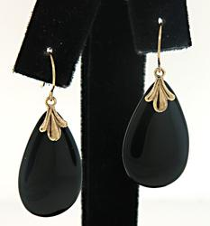 Fabulous Black Onyx Teardrop Dangle Earrings