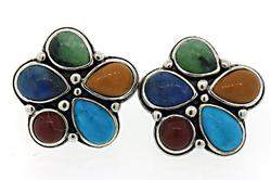Multi Color Gemstone Sterling Silver Earrings