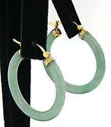 Jade Yellow Gold Hoop Earrings
