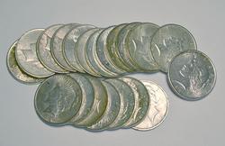 Roll of XF/AU Peace Dollars
