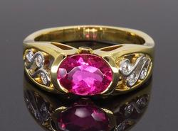 18K Yellow Gold Rubelite & Diamond Ring