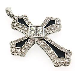 CZ and Black Enamel Sterling Silver Pendant