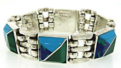 Turquoise and Malch Inlay Sterling Silver Bracelet