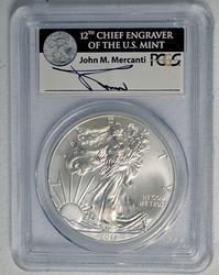 2011-(W) MS70 Mercanti Signed Silver Eagle, PCGS