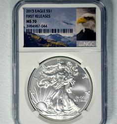 First Release MS70 2015 Silver Eagle NGC