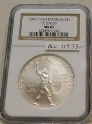 2006 Unc Franklin - Scientist Sil Dol, ANACS NGC MS-69