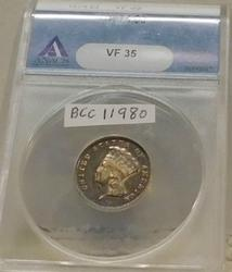 1874  $3 Gold Piece ANACS VF-35, nicely toned, rare