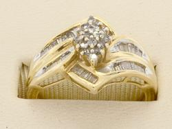 Diamond Cluster Ring with Baguette Shoulders