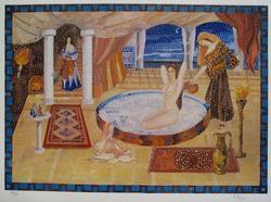 Irel, Cleopatra's Milk Bath Signed Etching