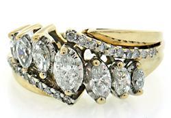 Radiant Multi Diamond Ring, 14K