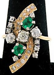 Vintage Emerald & Diamond Two Tone Ring