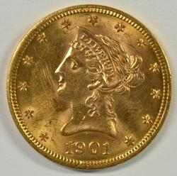 Choice BU 1901 US $10 Liberty Gold Piece