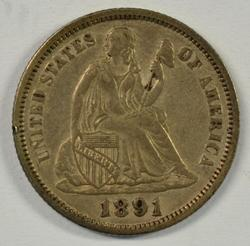 Lovely original 1891 Liberty Seated Dime. Nice