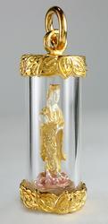 Unique Guan Yin Statue Amulet / Pendant Gold