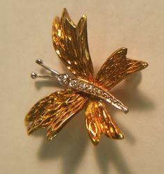 Tiffany & Co. 18k Diamond Butterfly Collectors Brooch