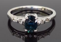 Simple Elegance, Diamond and Sapphire Ring
