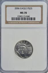 Perfect BU 2006 $25 Platinum Eagle. NGC MS70