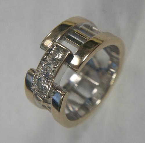 Tiffany & Co. Atlas Open Ring 3 Diamonds 18K White Gold