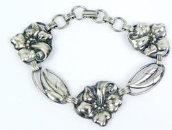 Vintage Sterling Hibiscus Flower Link Bracelet