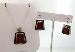 Red Stone Sterling Silver Necklace Set