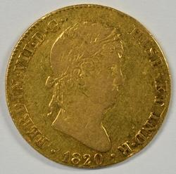 Scarce 1820 Spain 4 Escudos Gold Piece. Nice