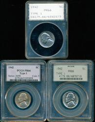 3 1942 (Type 1) Gem Proof Jefferson Nickels. PCGS PR66