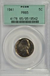 1941 Gem Proof Jefferson Nickel. PCGS PR65