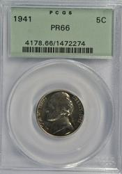 Awesome Gem PRF 1941 Jefferson Nickel. PCGS PR66
