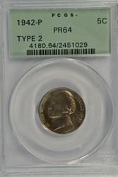 Near Gem PRF 1942-P Silver Jefferson Nickel. PCGS PR64