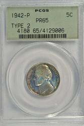 Gem PRF 1942-P Silver Jefferson Nickel. Old PCGS PR65