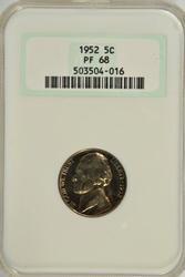 Near perfect 1952 Gem PRF Jefferson Nickel. NGC PF68