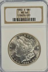 Awesome NGC MS66 graded 1882-S Morgan Silver Dollar