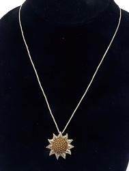 Popular Whimsical Sunflower Pendant, Sterling