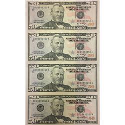 Uncut Currency Sheet 4 x $50 2006 UNC