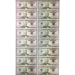 Uncut Currency Sheet 16 x $50 2009 UNC