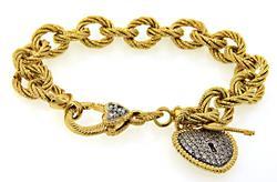 Judith Ripka Gold Plate Heart Tag Bracelet